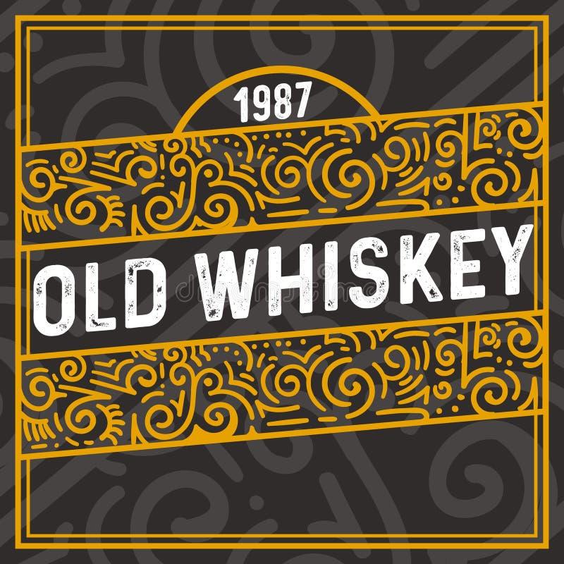 与葡萄酒文本和花卉元素的老威士忌酒装饰框架 库存例证