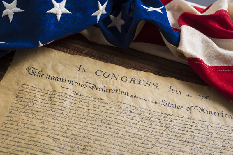 与葡萄酒旗子的美国独立宣言 库存照片