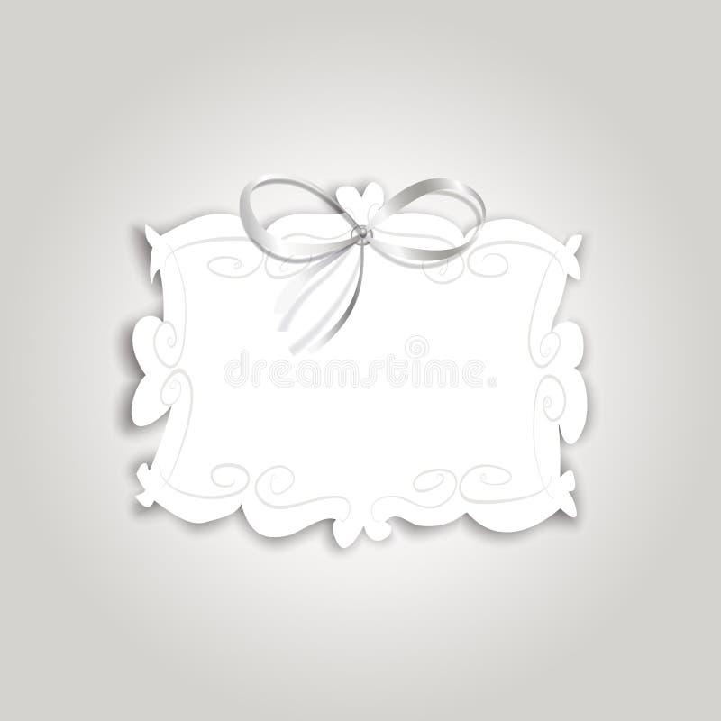与葡萄酒标签的浪漫礼品券文本和丝绸丝带的 向量例证