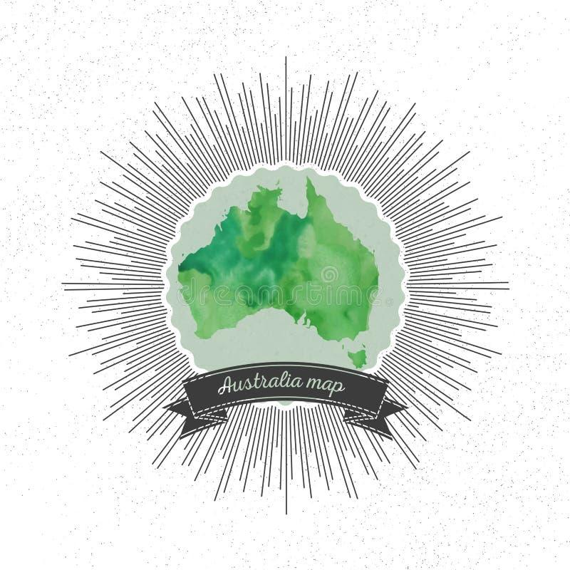 与葡萄酒样式星爆炸的澳大利亚地图,绿色 库存例证