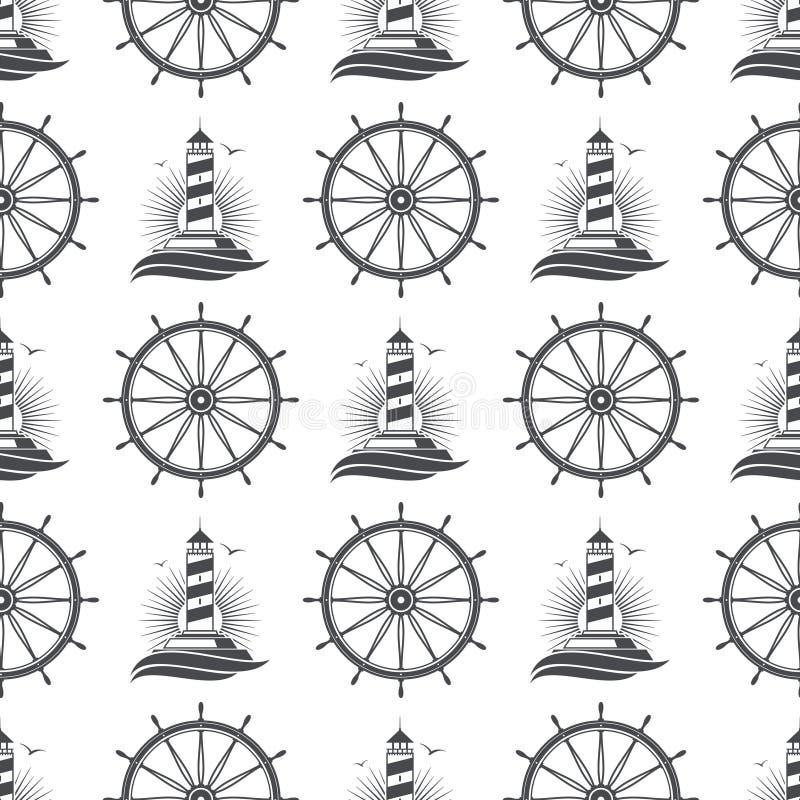 与葡萄酒灯塔和轮子的海洋船舶无缝的样式设计 皇族释放例证