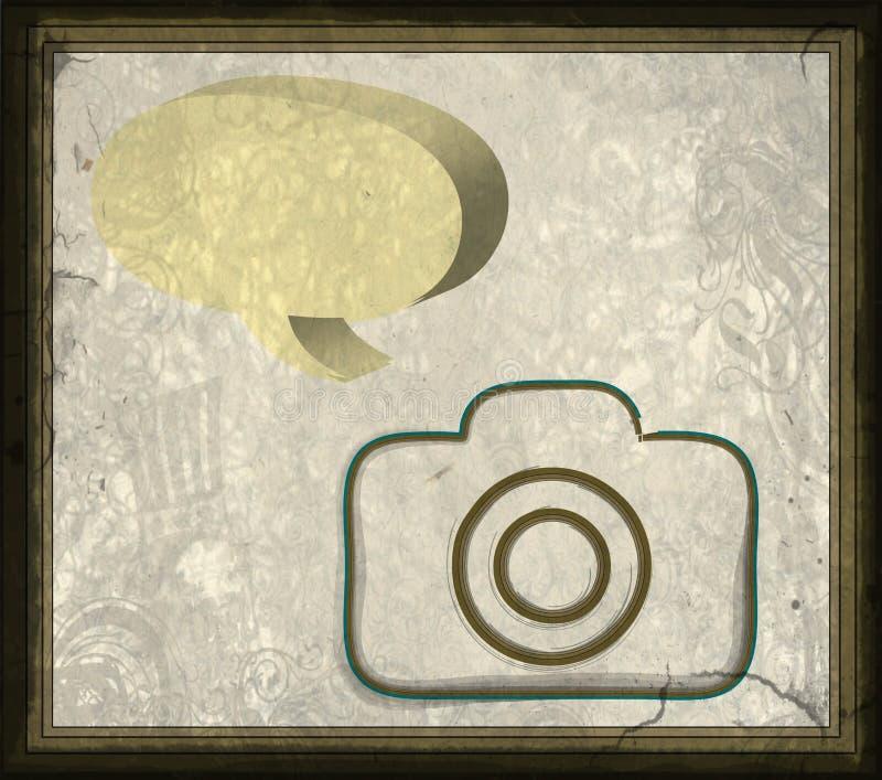 与葡萄酒照片框架的老纸照相机 向量例证