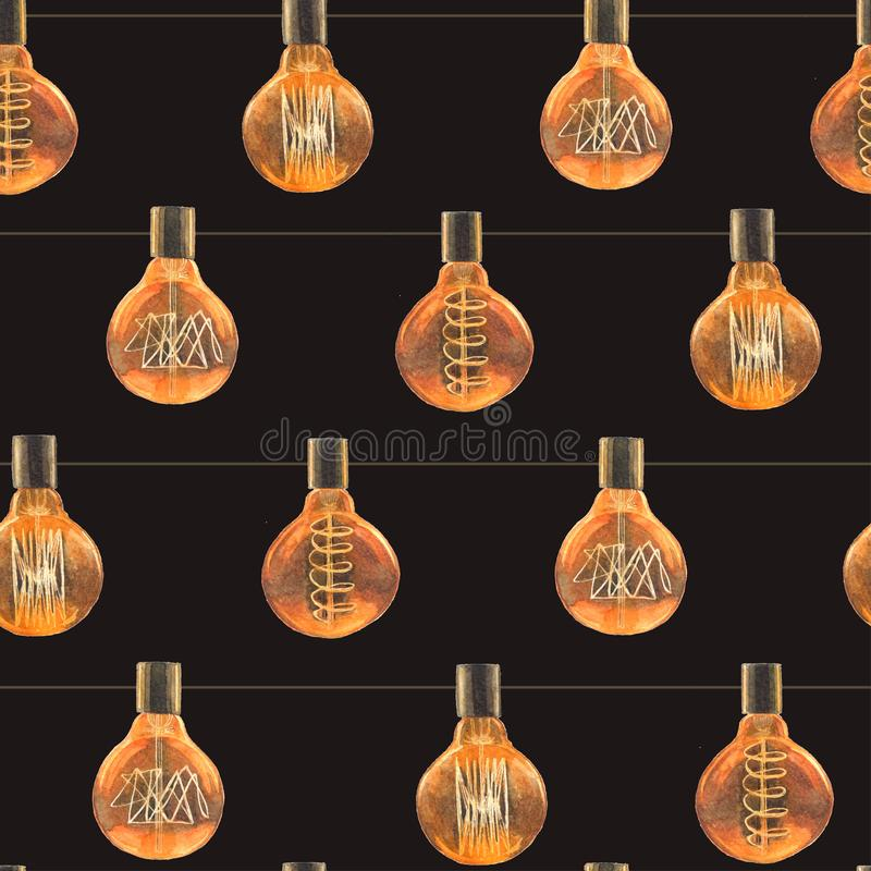 与葡萄酒爱迪生灯的水彩无缝的样式 皇族释放例证