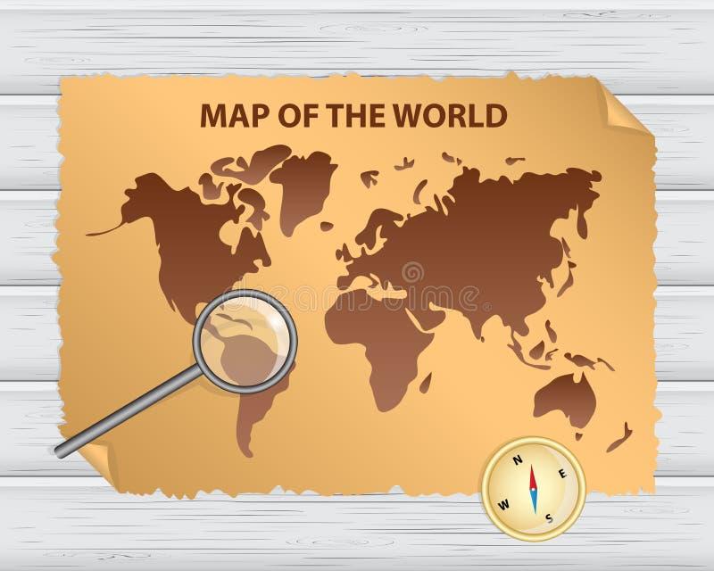 与葡萄酒纸、羊皮纸、金黄指南针和m的旧世界地图 皇族释放例证