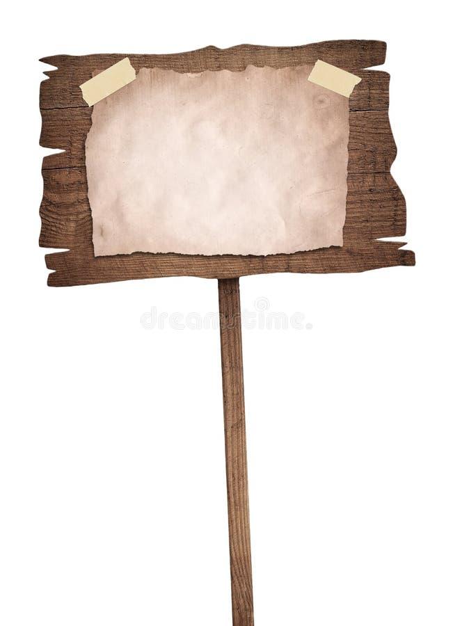 与葡萄酒纸的老被风化的木标志 免版税图库摄影