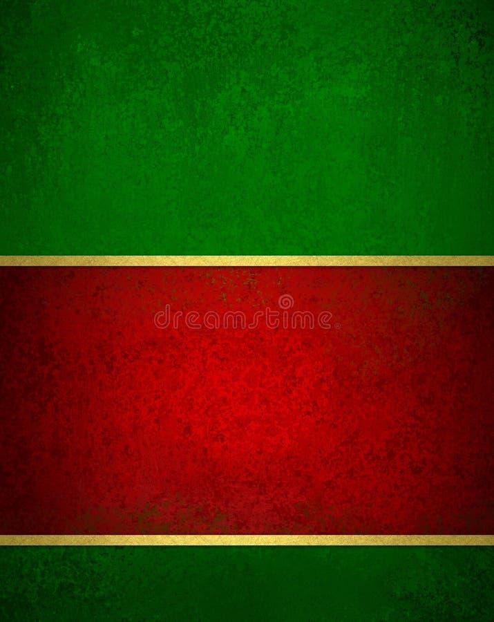 与葡萄酒纹理的绿色红色圣诞节背景和金子整理口音圣诞节丝带 皇族释放例证