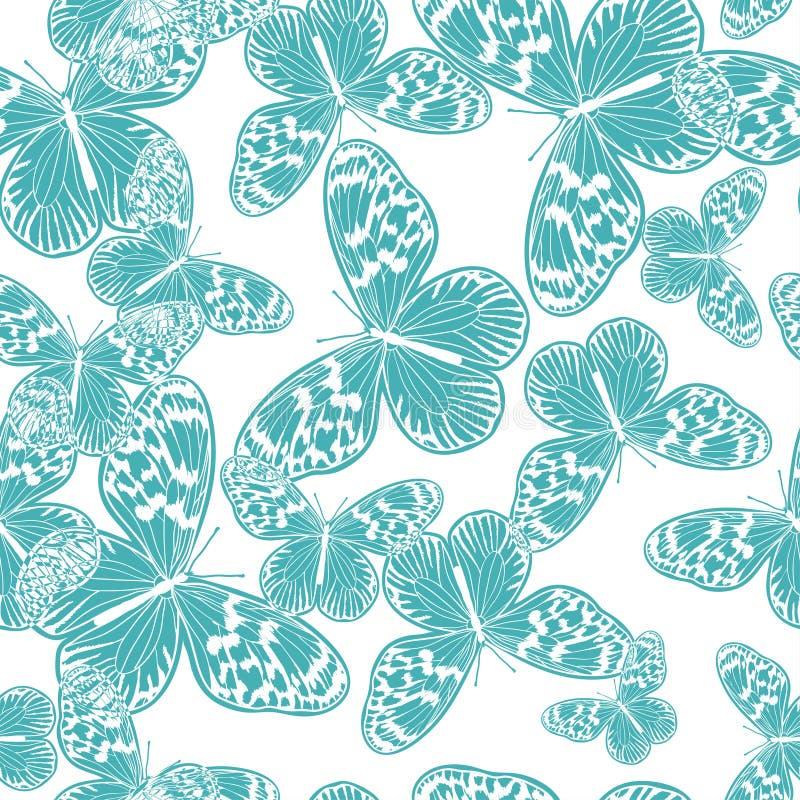 与葡萄酒蓝色蝴蝶的无缝的样式 向量例证
