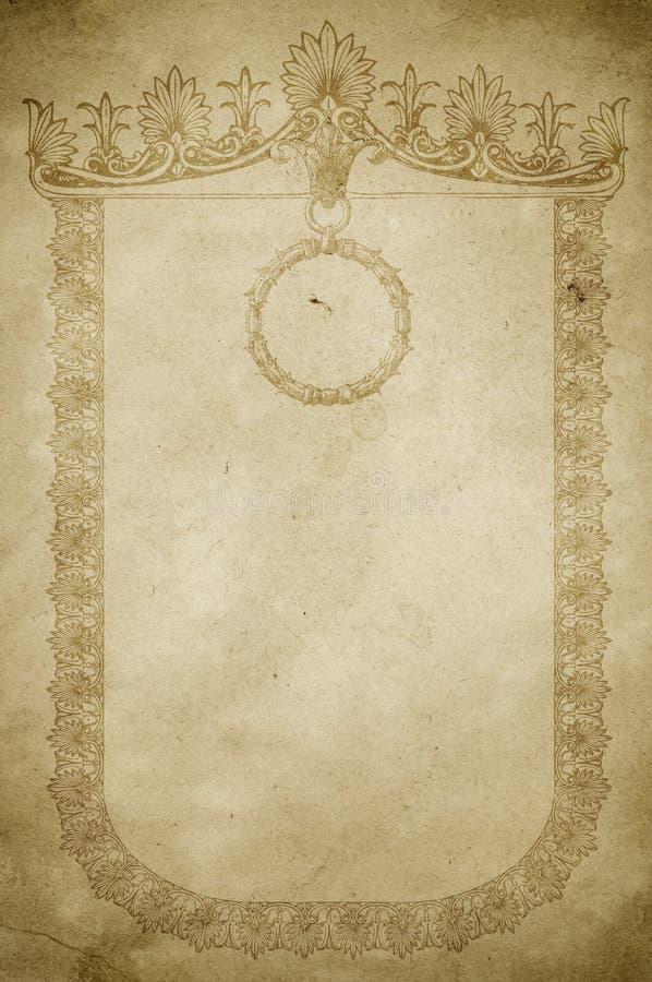 与葡萄酒边界的老纸背景 库存例证