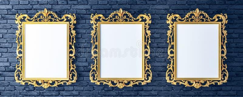 与葡萄酒金黄框架的帆布在砖墙上 向量例证
