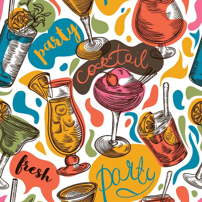 与葡萄酒鸡尾酒和手拉的字法的无缝的样式 有鸡尾酒的乐趣当事人人年轻人 向量例证