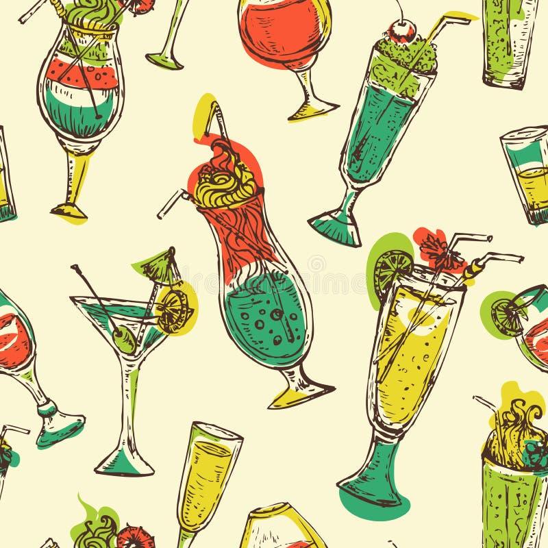 与葡萄酒鸡尾酒的无缝的样式 有鸡尾酒的乐趣当事人人年轻人 皇族释放例证