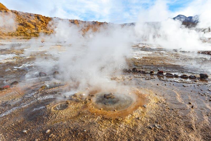 与蒸气足迹,Tatio喷泉,智利的喷气孔 免版税库存照片