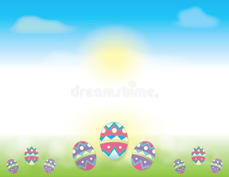 与蓝天和在绿草装饰的复活节彩蛋的复活节背景 向量例证