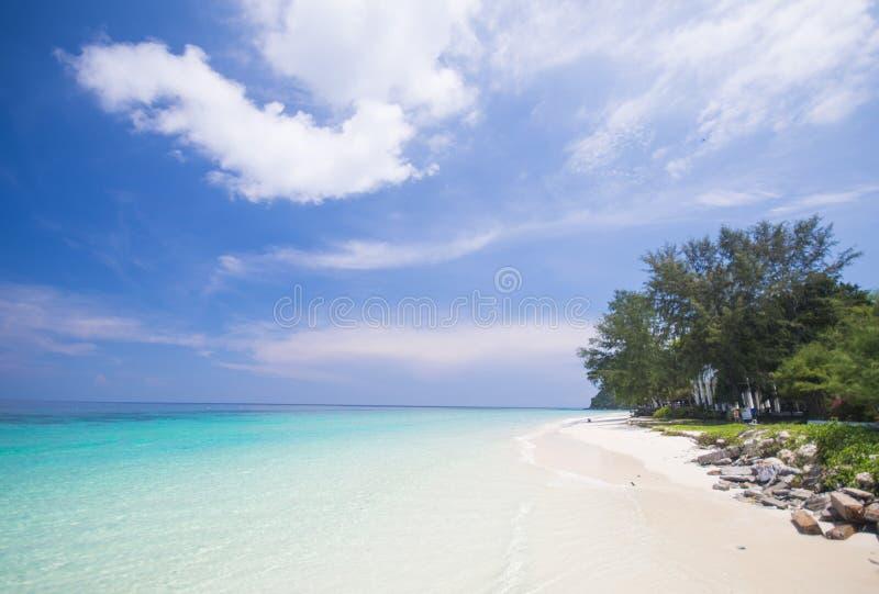与蓝天的热带海滩和镇静蓝色海冲浪 库存照片