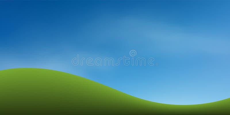 与蓝天的绿草小山 抽象背景公园和室外 库存例证