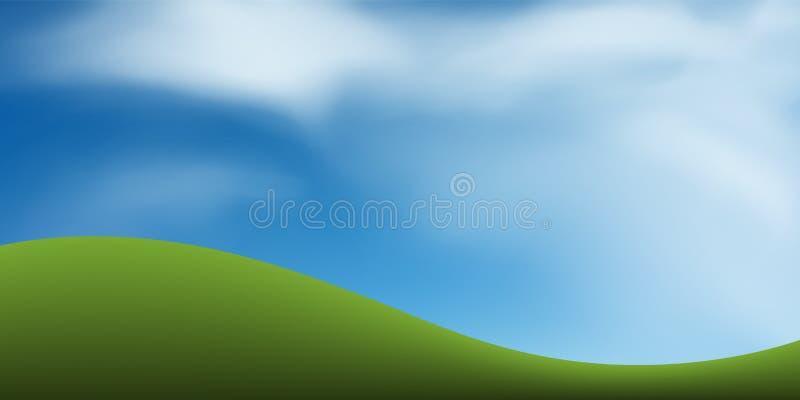 与蓝天的绿草小山 抽象背景公园和室外 向量例证