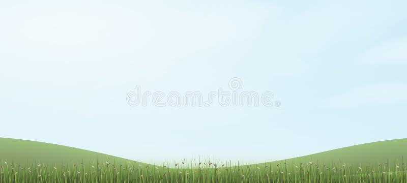 与蓝天的绿草小山 抽象背景公园和室外 皇族释放例证
