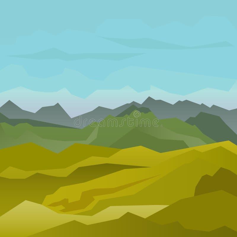 与蓝天的高绿色山风景 库存例证