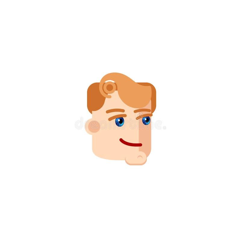 与蓝眼睛微笑的商人字符 与红色卷发的男性角色面孔 商人的吉祥人 youn的具体化 向量例证