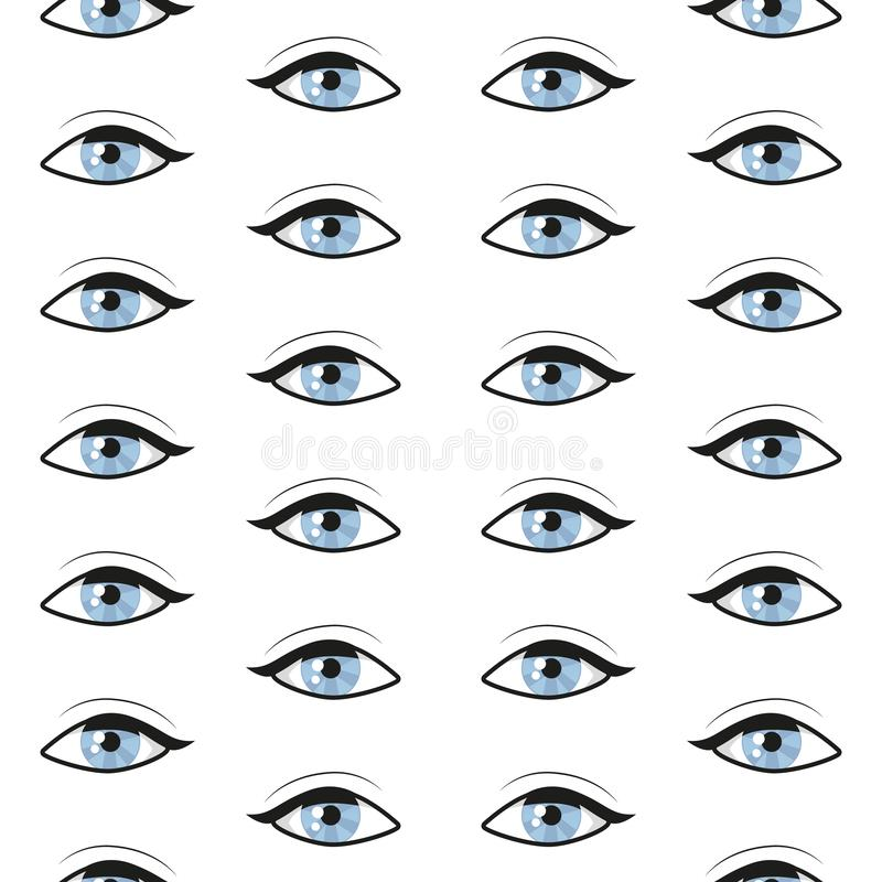 与蓝眼睛的无缝的样式 向量背景 向量例证
