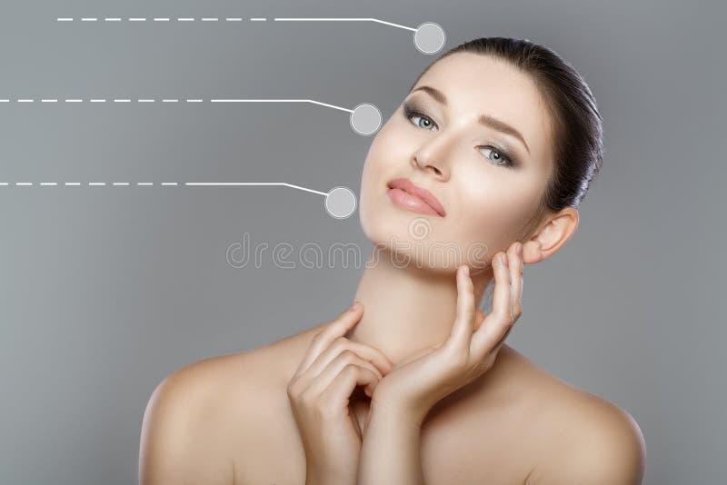 与蓝眼睛的美丽的妇女` s面孔和清洗新鲜的皮肤 女孩接触面孔用她的手 库存图片