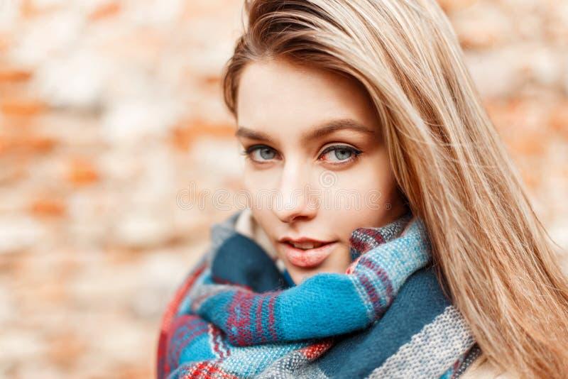 与蓝眼睛的美丽的性感的女孩面孔临近砖墙 免版税库存照片