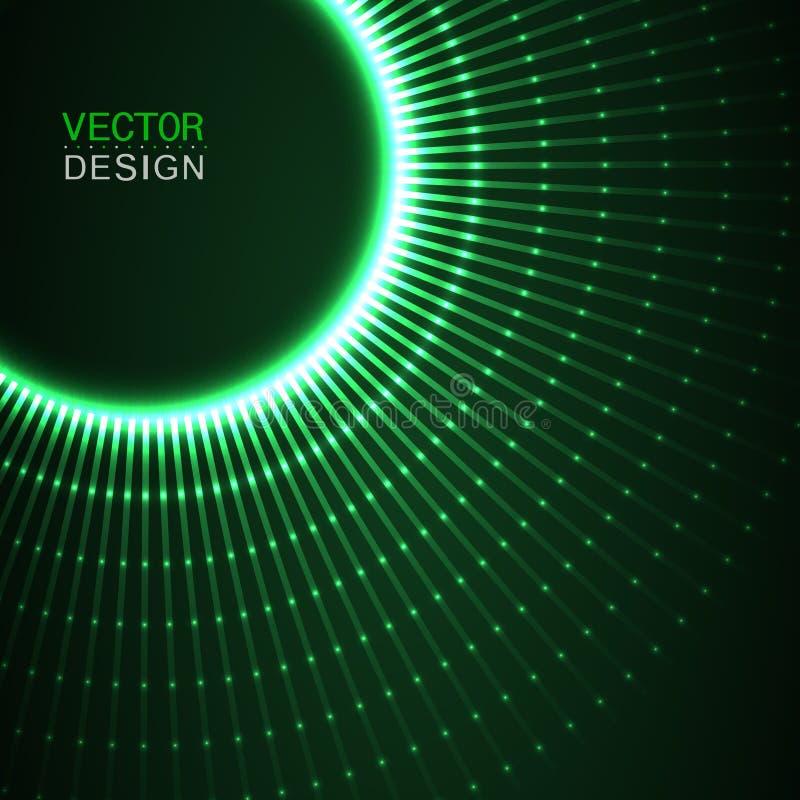 与蓝线的圈子光线影响 抽象背景 向量图形设计 向量例证