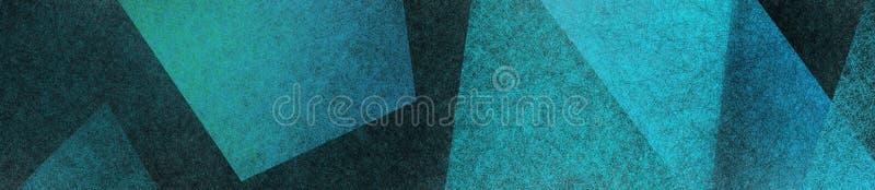 与蓝绿色在半横幅大小长方形分层堆积的多角形和三角形状的黑现代抽象背景 皇族释放例证