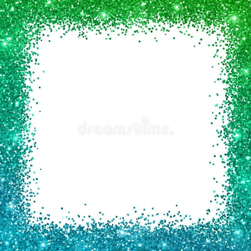 与蓝绿色颜色作用的闪烁方形的边界框架 向量 皇族释放例证