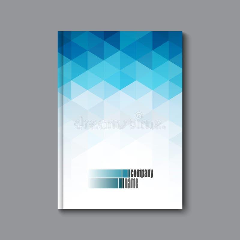 与蓝色三角的抽象企业小册子、飞行物和盖子设计版面模板 向量例证