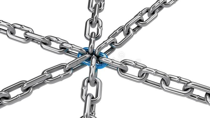 与蓝色中央链接的链子, 库存图片