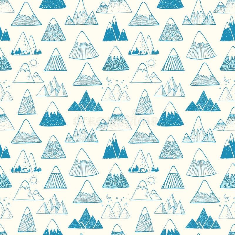 与蓝色乱画剪影山的无缝的样式在白色背景 能为墙纸,样式积土使用 库存例证