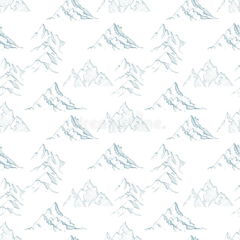 与蓝色乱画剪影山的无缝的样式在白色背景 能为墙纸,样式积土使用 皇族释放例证
