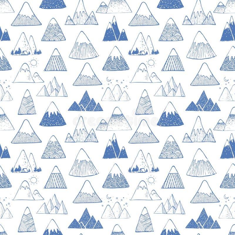 与蓝色乱画剪影山的无缝的样式在白色背景 能为墙纸,样式积土使用 向量例证