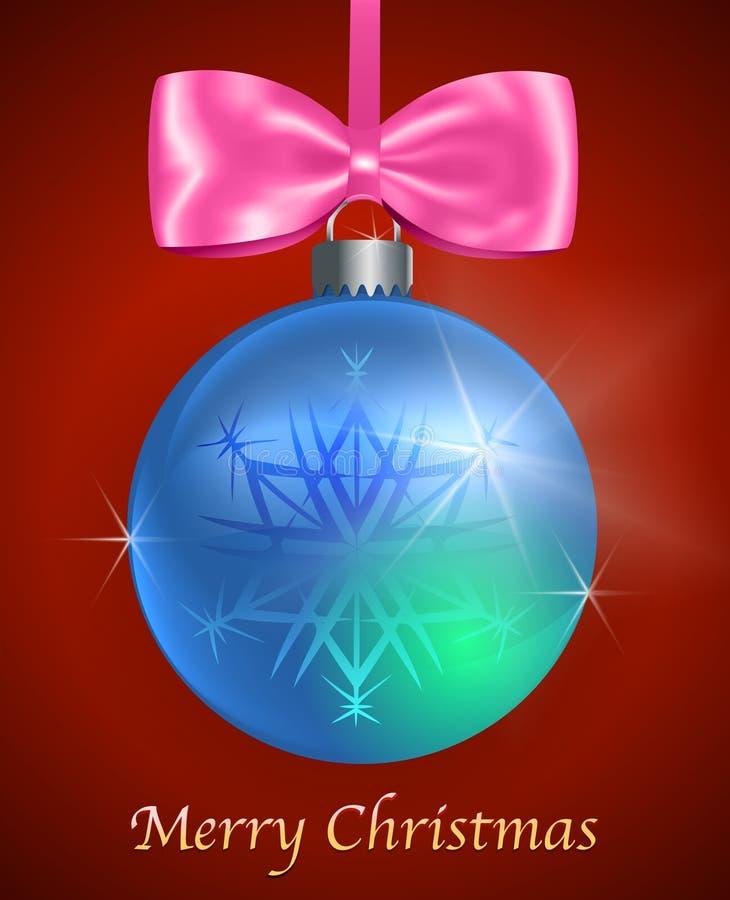 与蓝色光滑的圣诞节球的圣诞卡 向量例证