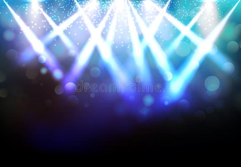 与蓝色光芒和发光的作用的不可思议的聚光灯党前夕的 库存例证