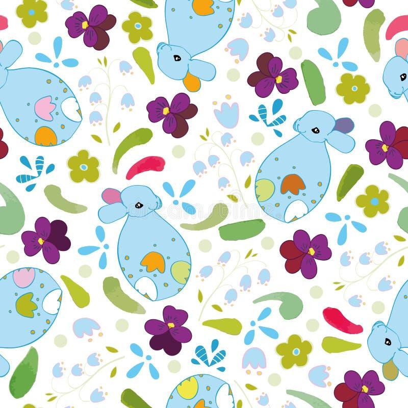 与蓝色兔宝宝和花的白色样式 向量例证