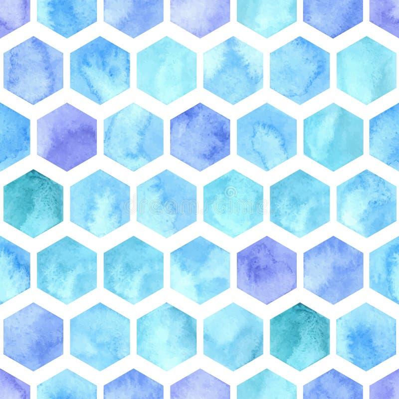 与蓝色六角形的传染媒介水彩几何无缝的样式 皇族释放例证