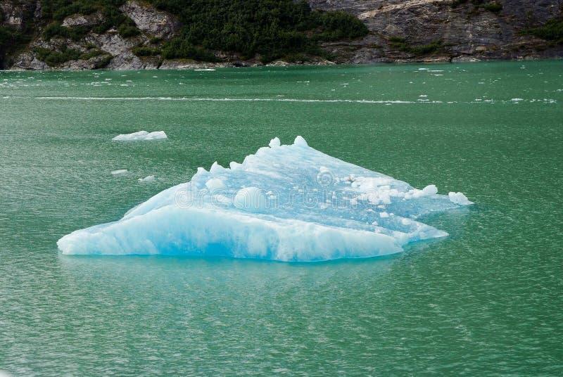 与蓝色冰的约翰斯・奥普金斯冰川在冰川阿拉斯加 免版税库存照片