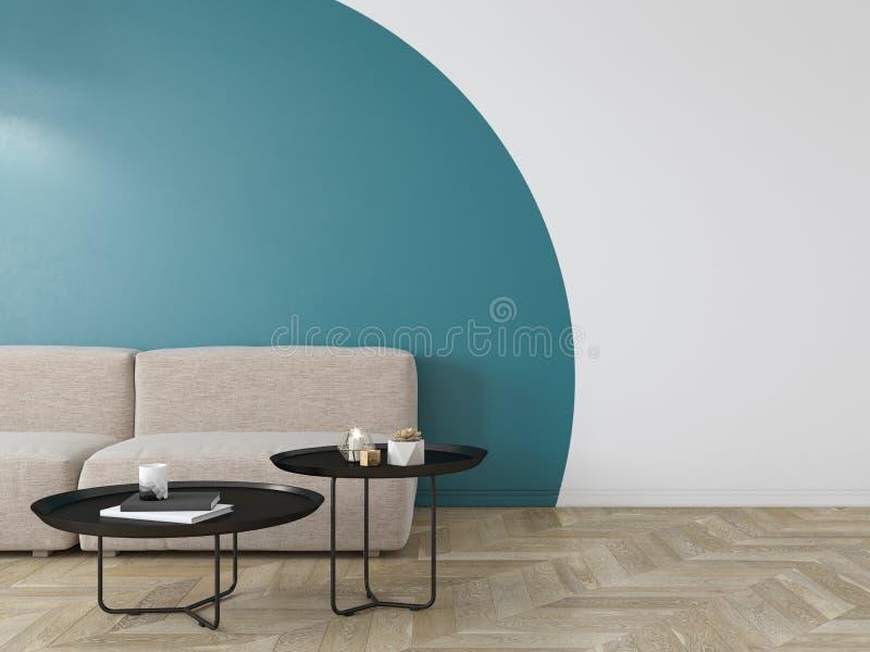 与蓝色几何印刷品的空的内部在墙壁上 沙发、咖啡桌和木地板 库存例证