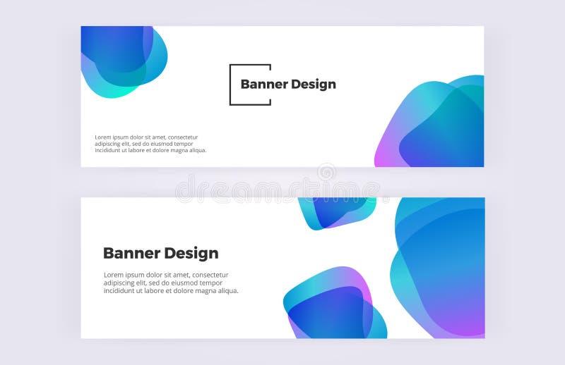 与蓝色可变的形状的抽象横幅在白色背景 与五颜六色的泡影的现代和时髦设计 卡片的模板, 库存例证