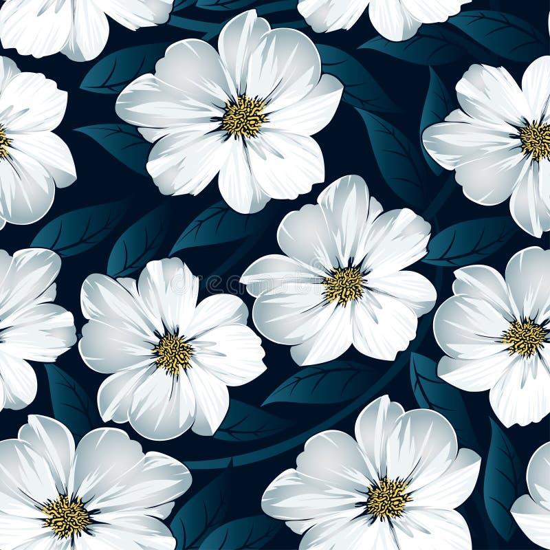 与蓝色叶子的白色花卉无缝的样式 向量例证