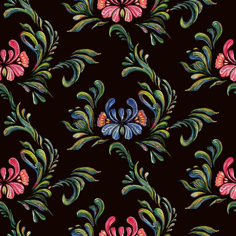 与蓝色和桃红色花的无缝的花卉样式 向量例证