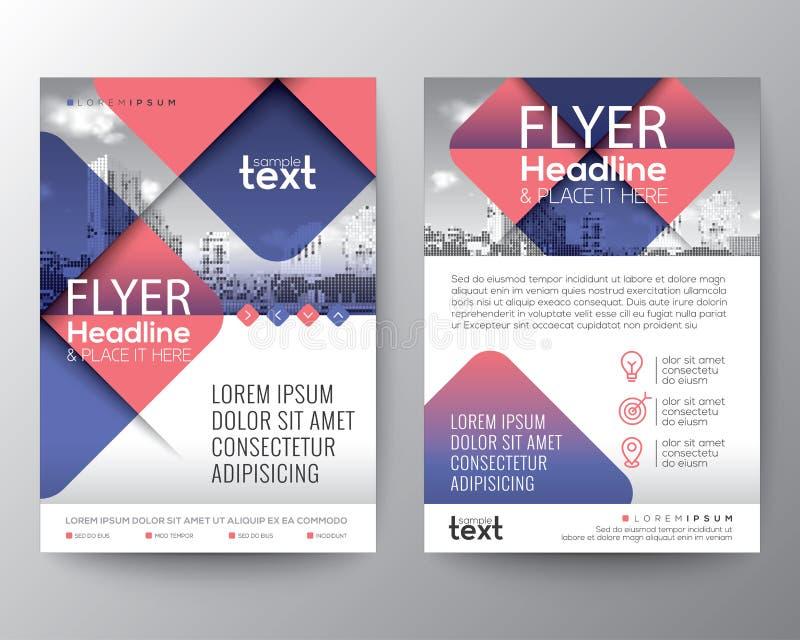 与蓝色和桃红色颜色的抽象发怒对角方形的形状 小册子盖子飞行物海报设计的图表元素背景 向量例证
