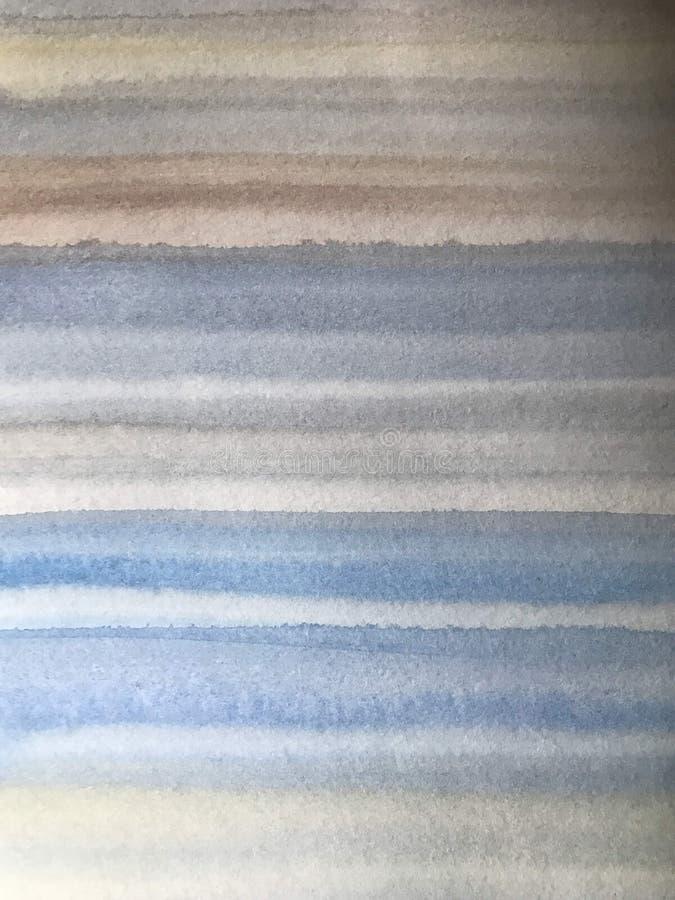 与蓝色和棕色条纹,手绘的背景的水彩纹理 免版税库存照片
