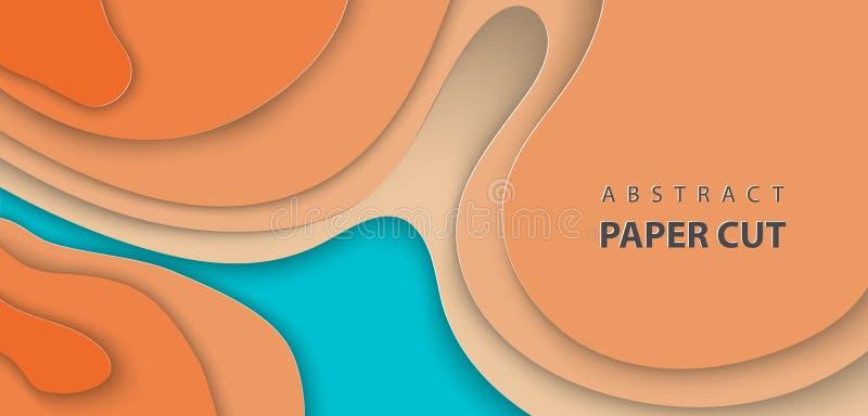 与蓝色和橘黄色纸裁减波形的传染媒介背景 3D抽象纸艺术样式,设计版面 向量例证