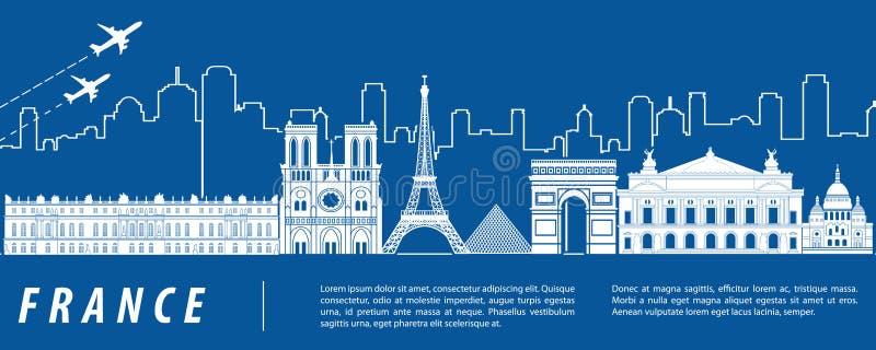 与蓝色和白色设计的法国著名地标剪影 皇族释放例证