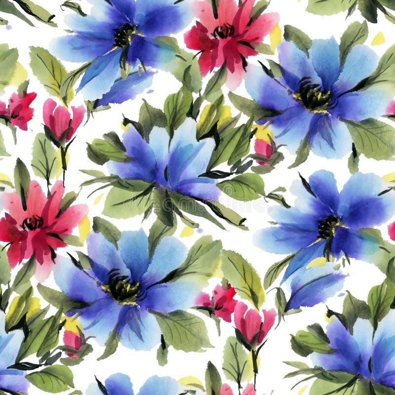 与蓝色和红色水彩花的无缝的样式在白色背景 皇族释放例证