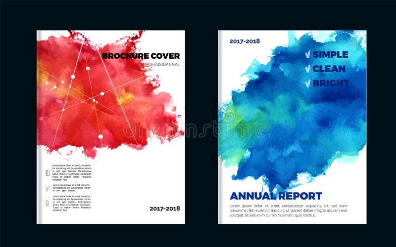 与蓝色和红色污点的印象深刻的水彩小册子设计您的促进的 库存例证