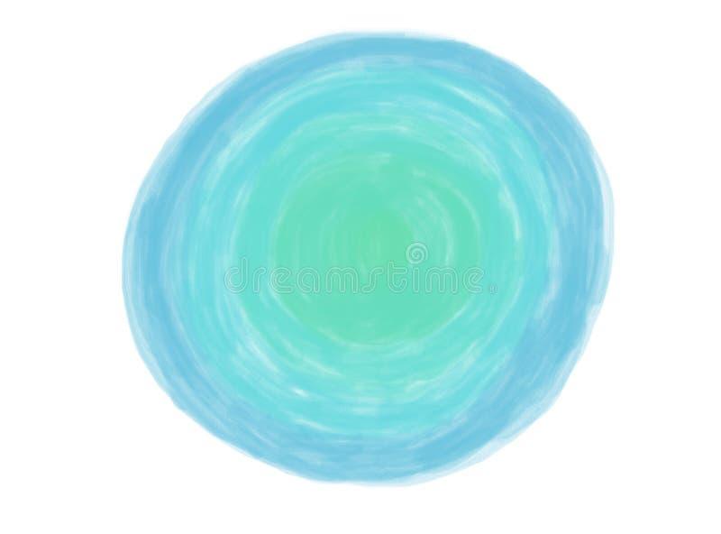 与蓝色和绿色色的树荫的软颜色葡萄酒淡色抽象圈子水彩商标背景孤立  免版税库存图片